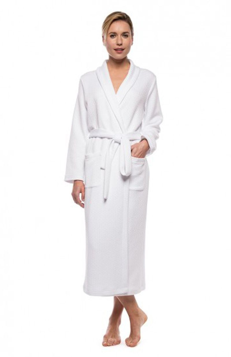 Quilted Long Wrap Around Modal and Cotton Mix White Dressing Gown ...