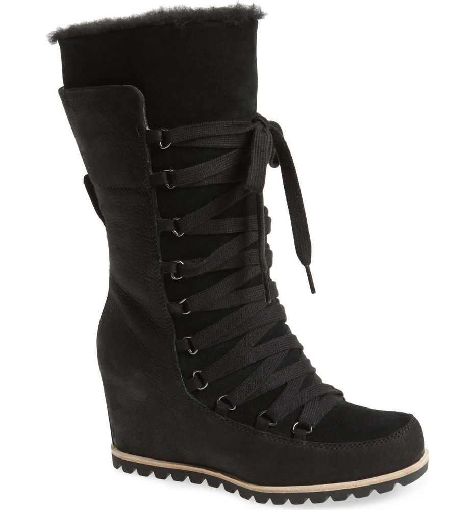 7c1258aaedb UGG Boots UGGS Mason Lace Up Tall Leather Shearling Wedge Boots ...