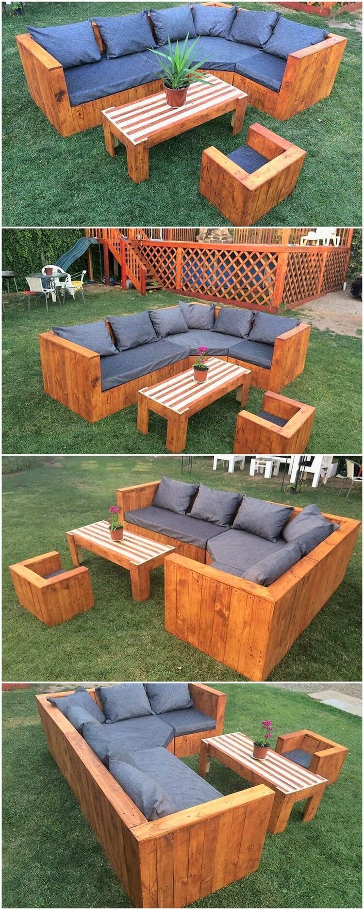 Garden Couch Set Made With Wood Pallets