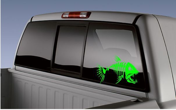 Skeleton fish sticker bone fish decal truck car boat fishing rodreel
