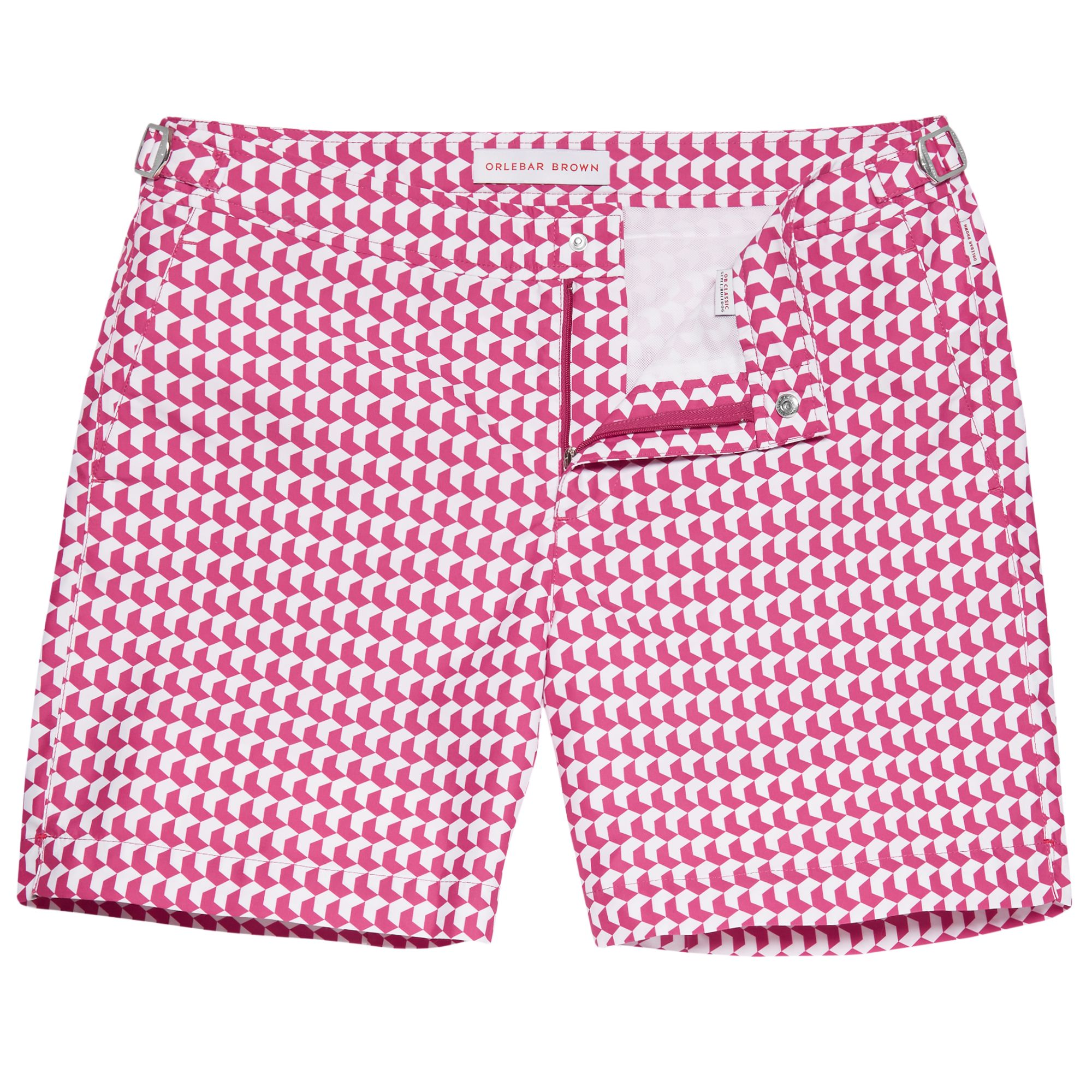 249d046a2a Introduce colour into your wardrobe via one of our geometric prints, such  as this playful paradise pink and white chevron pattern pair. Orlebar Brown