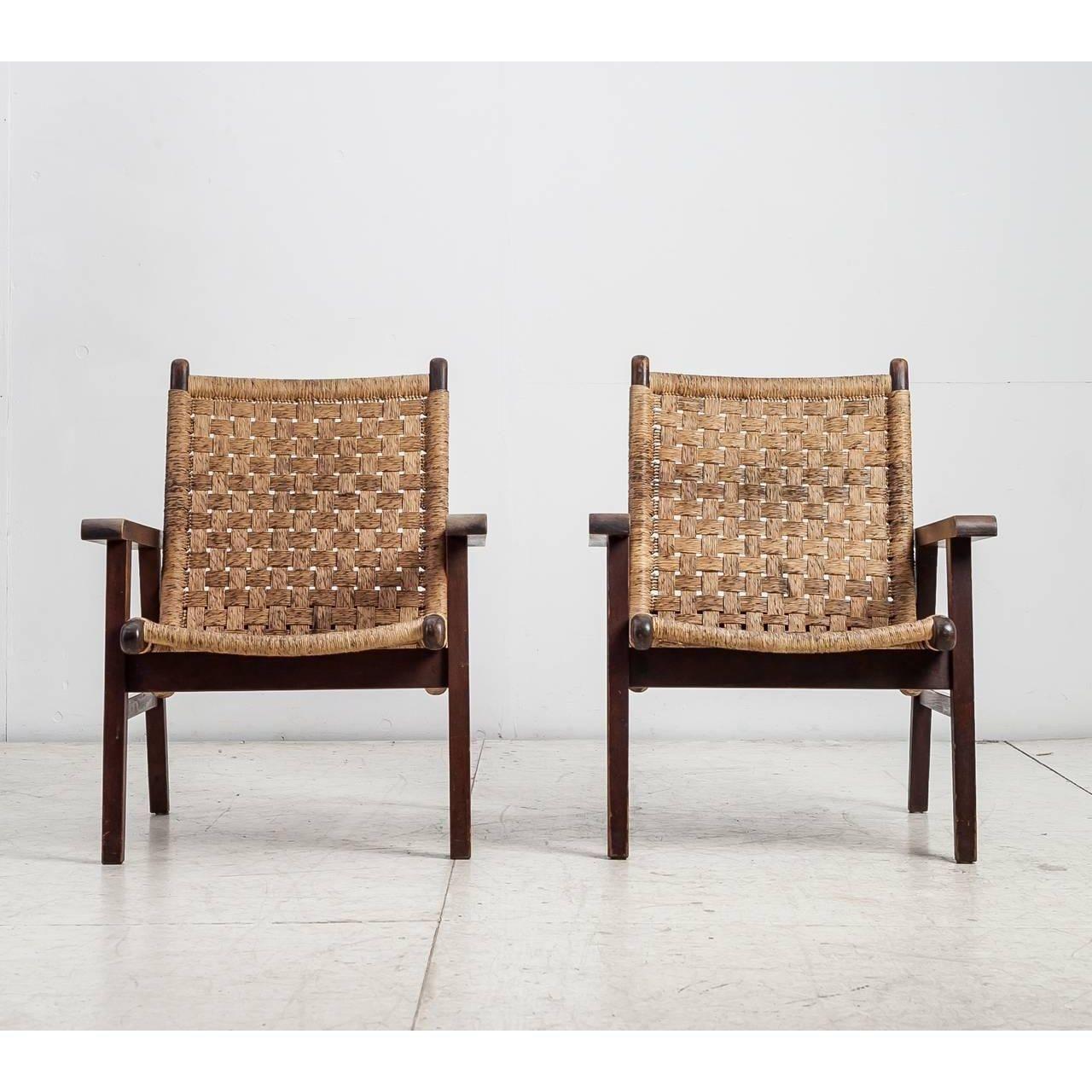 Image Of Pair Van Beuren Attributed Armchairs With Woven Cord  # Muebles Van Beuren