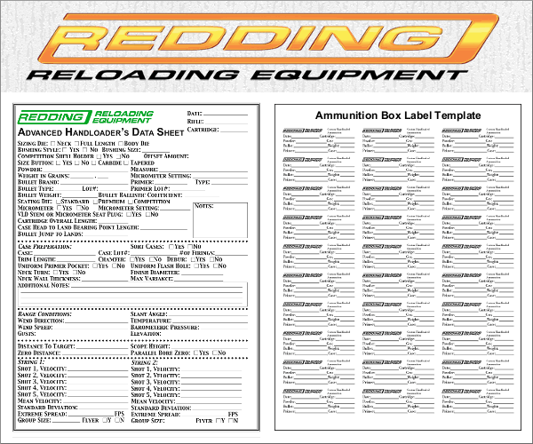 Reloading Data Form Ammo Box Template Printing Labels Chronograph