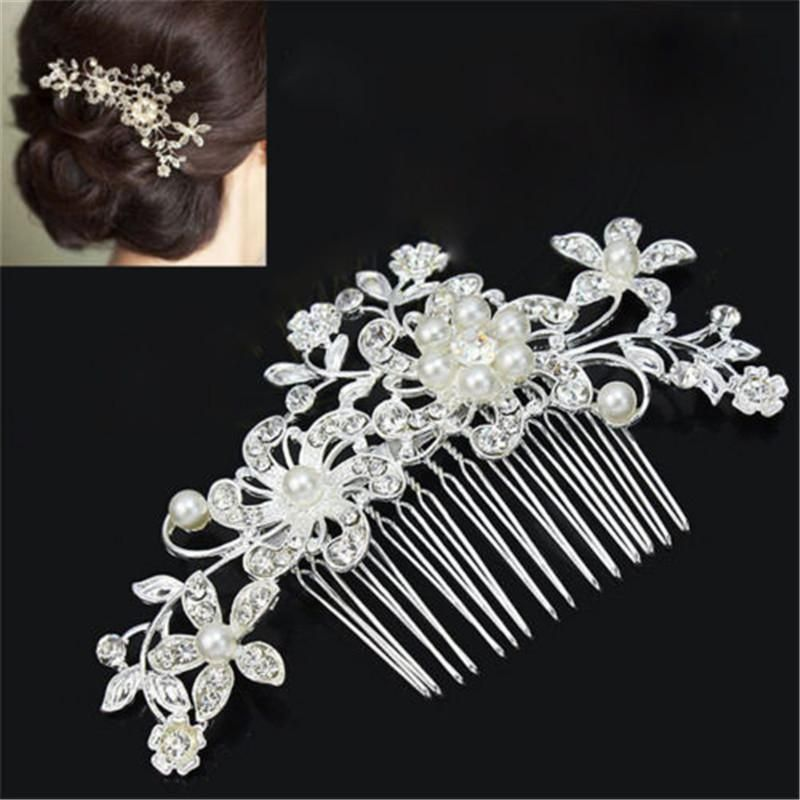 Rhinestone Wedding Hairpin,Bridal,Pearls,Floral,Diamante,Hair Clip,Comb,Pretty