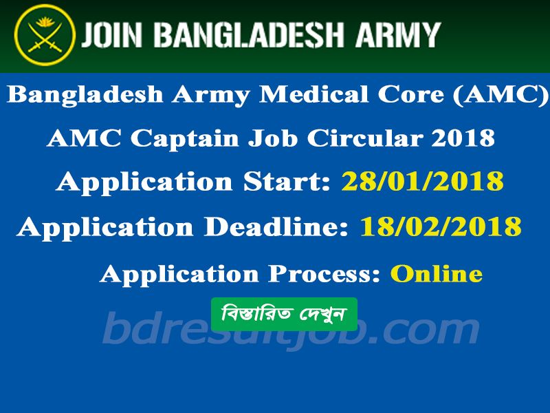 AMC - Army Medical Core 71ST Captain Recruitment Circular 2018 | Job