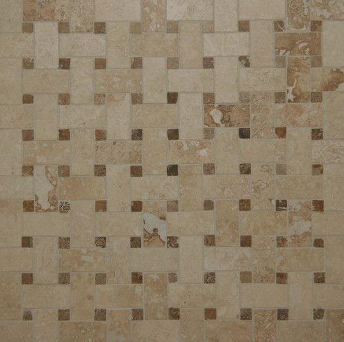 Travertine Basketweave Mosaic Tiles Contemporary Floor Tiles