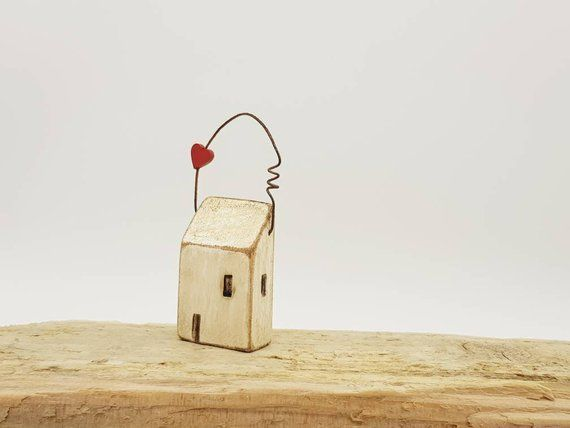 Little wooden hanging Cornish cottage decoration New Home #rusticgiftswrapping