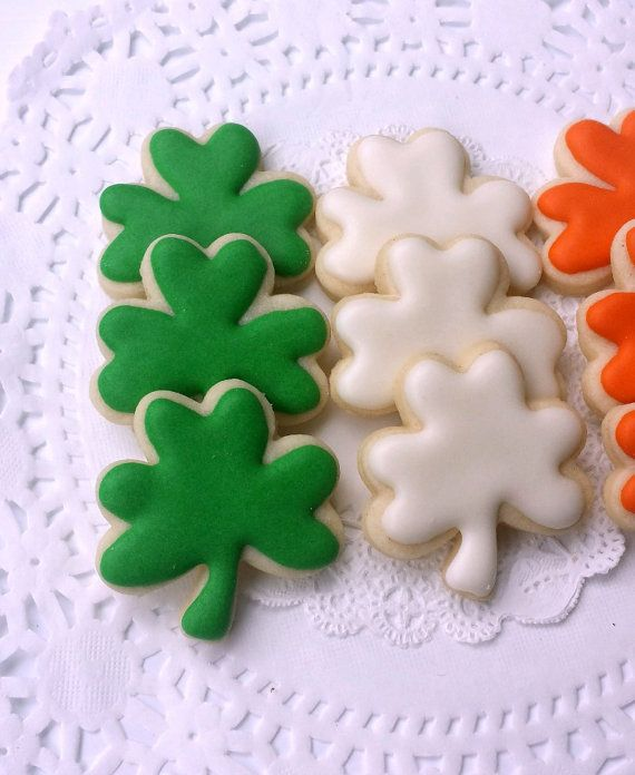 Mini Shamrock Sugar Cookies St. Patrick's Day by pfconfections