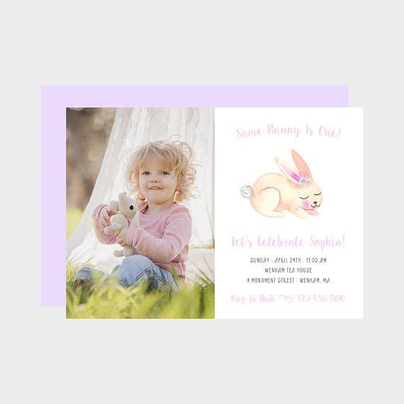 Some bunny is birthday party photo invitation pink bunny photo some bunny is birthday party photo invitation pink bunny photo invitation spring easter birthday stopboris Gallery