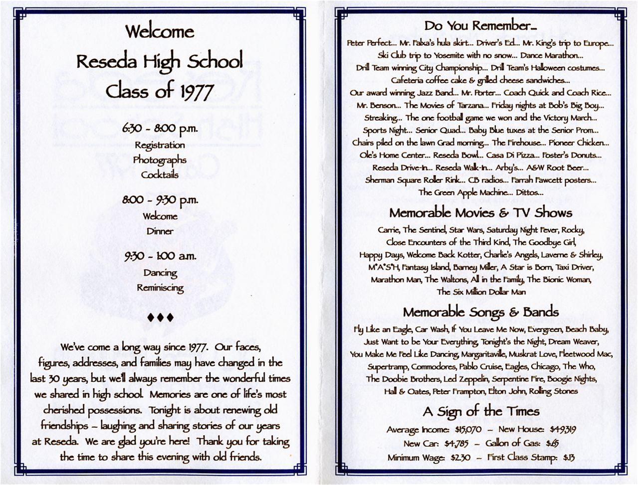 30th REUNION PROGRAM School Reunion High School And Programming