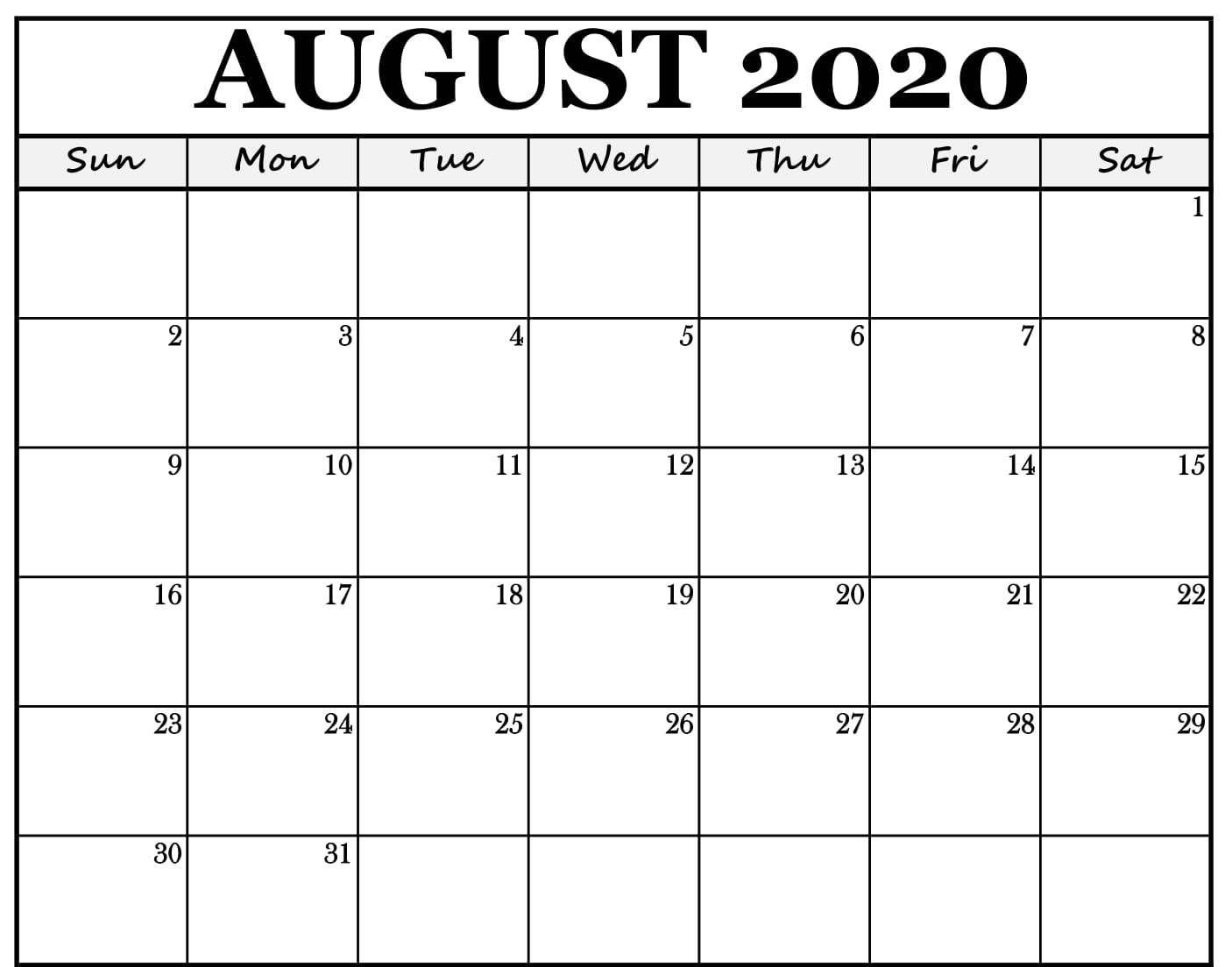 Fillable August 2020 Calendar Fillable Calendar Free Printable Calendar Templates Printable Calendar Template