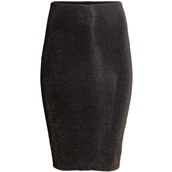 H&M Glittery jersey skirt (155 EGP) ❤ liked on Polyvore featuring skirts, h&m skirts, elastic skirt and jersey skirt