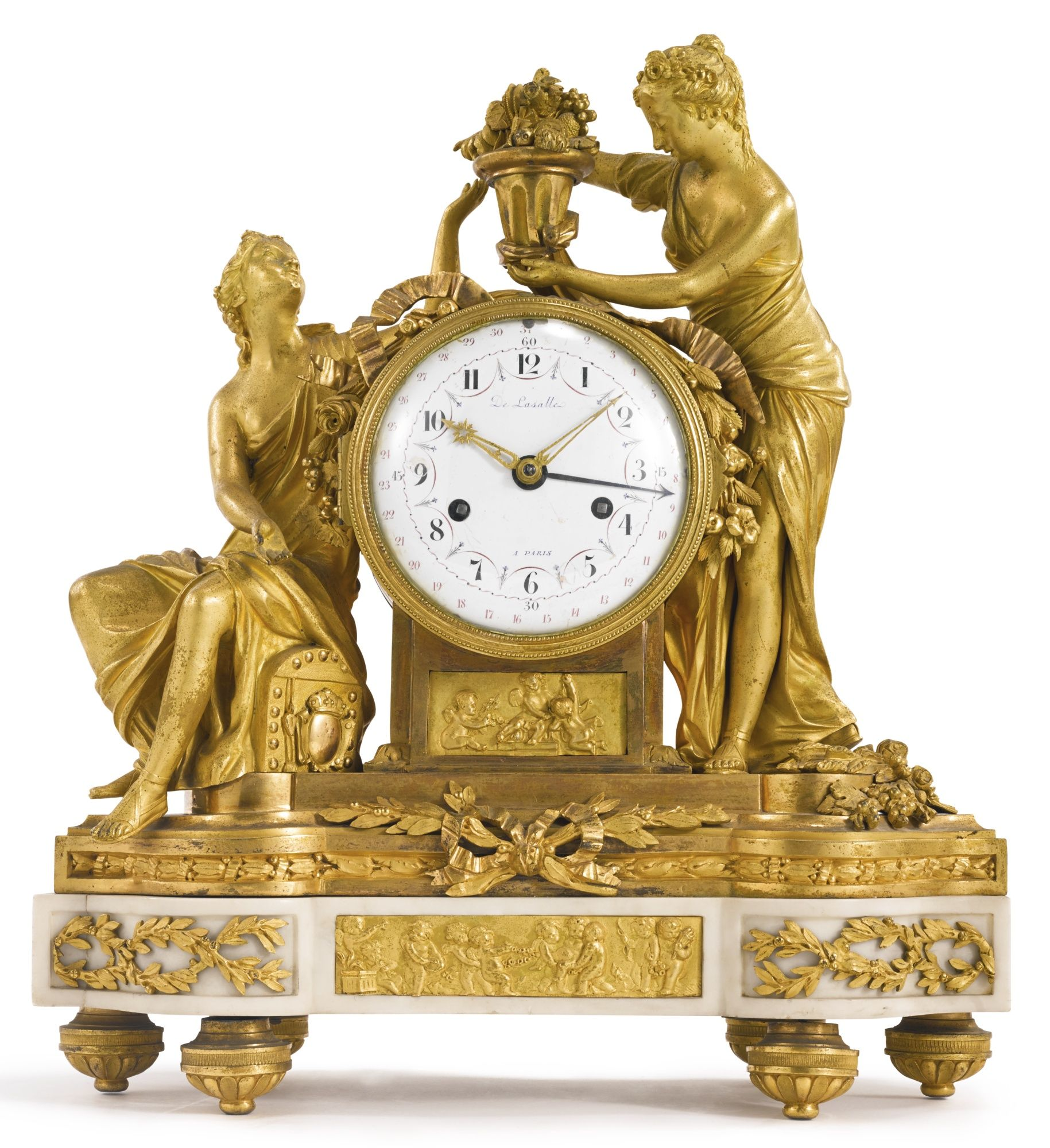 a louis xvi ormolu and white marble horloge poser paris circa 1775 antique furniture. Black Bedroom Furniture Sets. Home Design Ideas