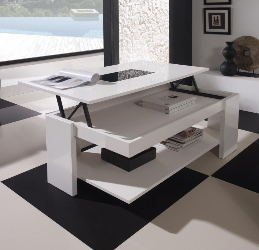 Table basse relevable centro cubic home furnitures - Table basse laquee blanc et bois ...