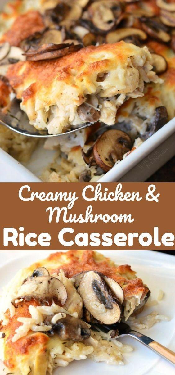 Chicken Ideas | Creamy Chicken Mushroom Rice Casserole