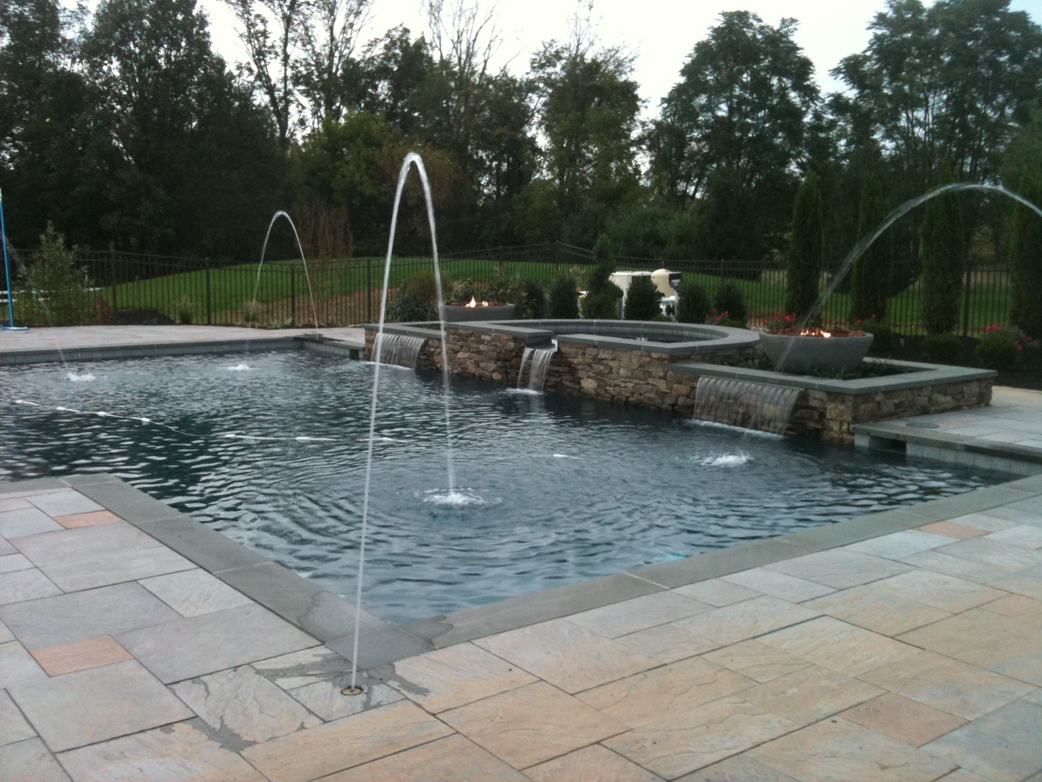 patio pools patio ideas archive landscaping company nj pa custom pools - Rectangle Pool With Water Feature