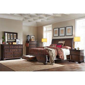 Brownstone 6 Piece Queen Storage Bedroom Set Bedroom Sets King Bedroom Sets King Bedroom