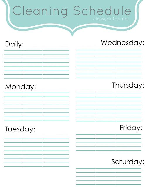 Weekly Cleaning Schedule Improve Your Cleaning Habits Classy Clutter Weekly Cleaning Schedule Printable Cleaning Schedule Cleaning Schedule Templates
