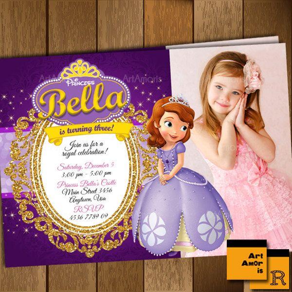 sofia the first invitation photo cards princess
