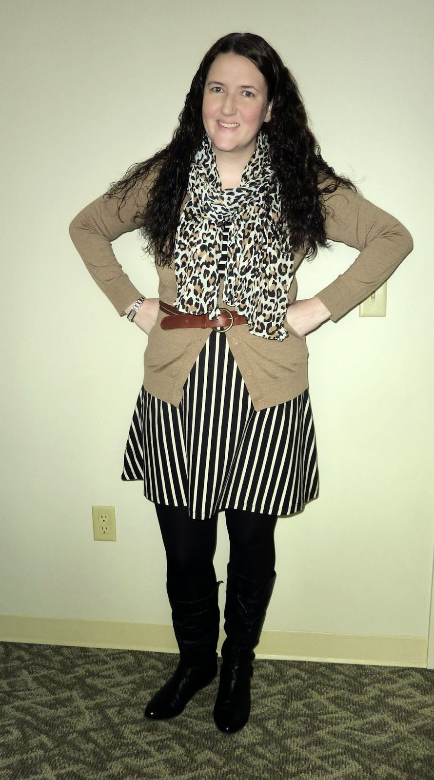 Just Another Smith: #29 - camel cardigan, leopard scarf, black white stripe dress, mixing prints