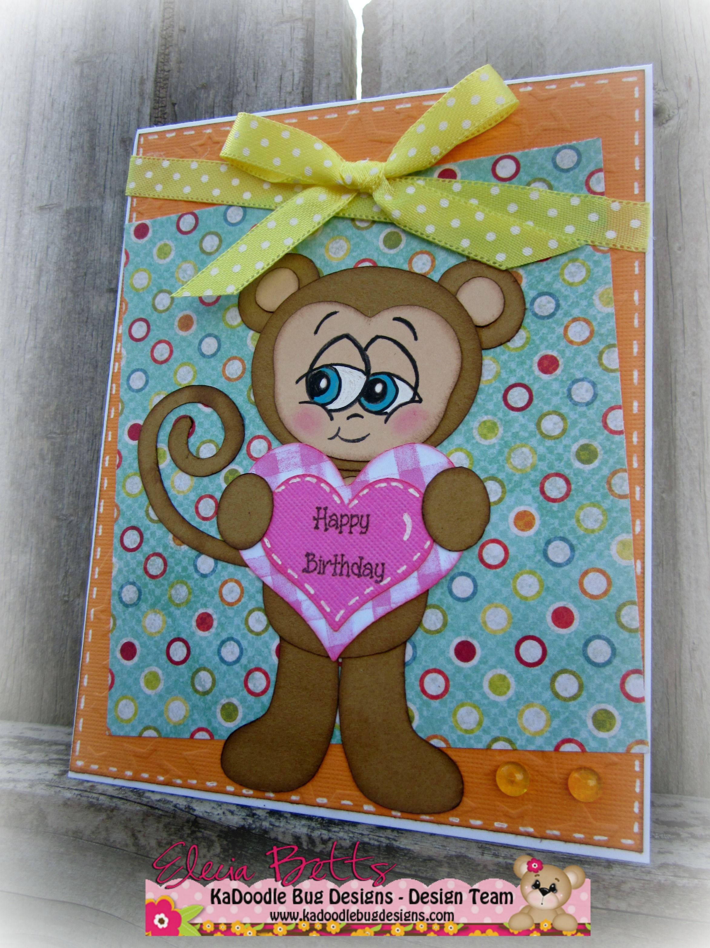 http://creationsby-kahaulani.blogspot.com/ Birthday card using KaDoodle Bug Designs svg file and Peachy Keen Stamps face stamp and sentiment