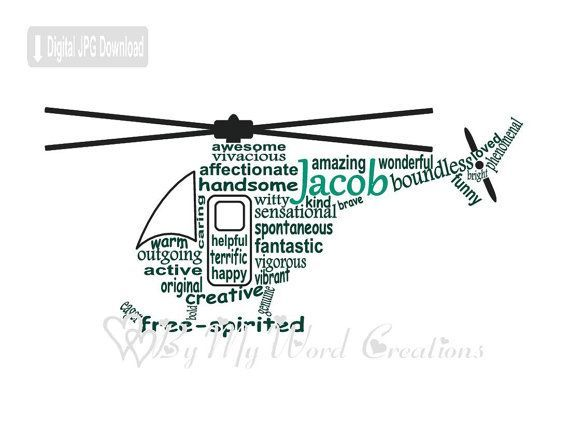 Helicopter Art, Helicopter Word Art, Gift for Boy, Helicopter Pilot Art, Personalized