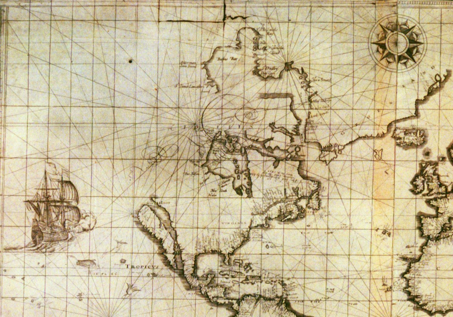 Sea chart detail showing Hudson Bay from