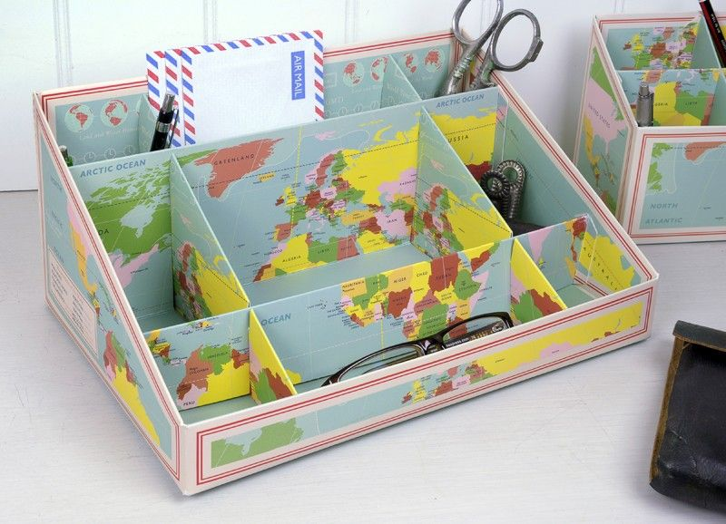 Vintage world map design desk tidy dotcomgiftshop places to vintage world map design desk tidy dotcomgiftshop gumiabroncs Image collections
