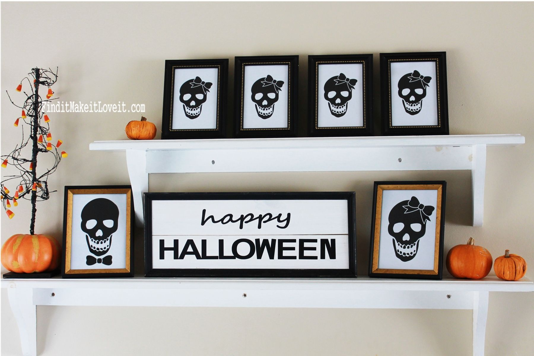 Free Mr and Mrs skull printable for quick, easy and inexpensive - Inexpensive Halloween Decorations