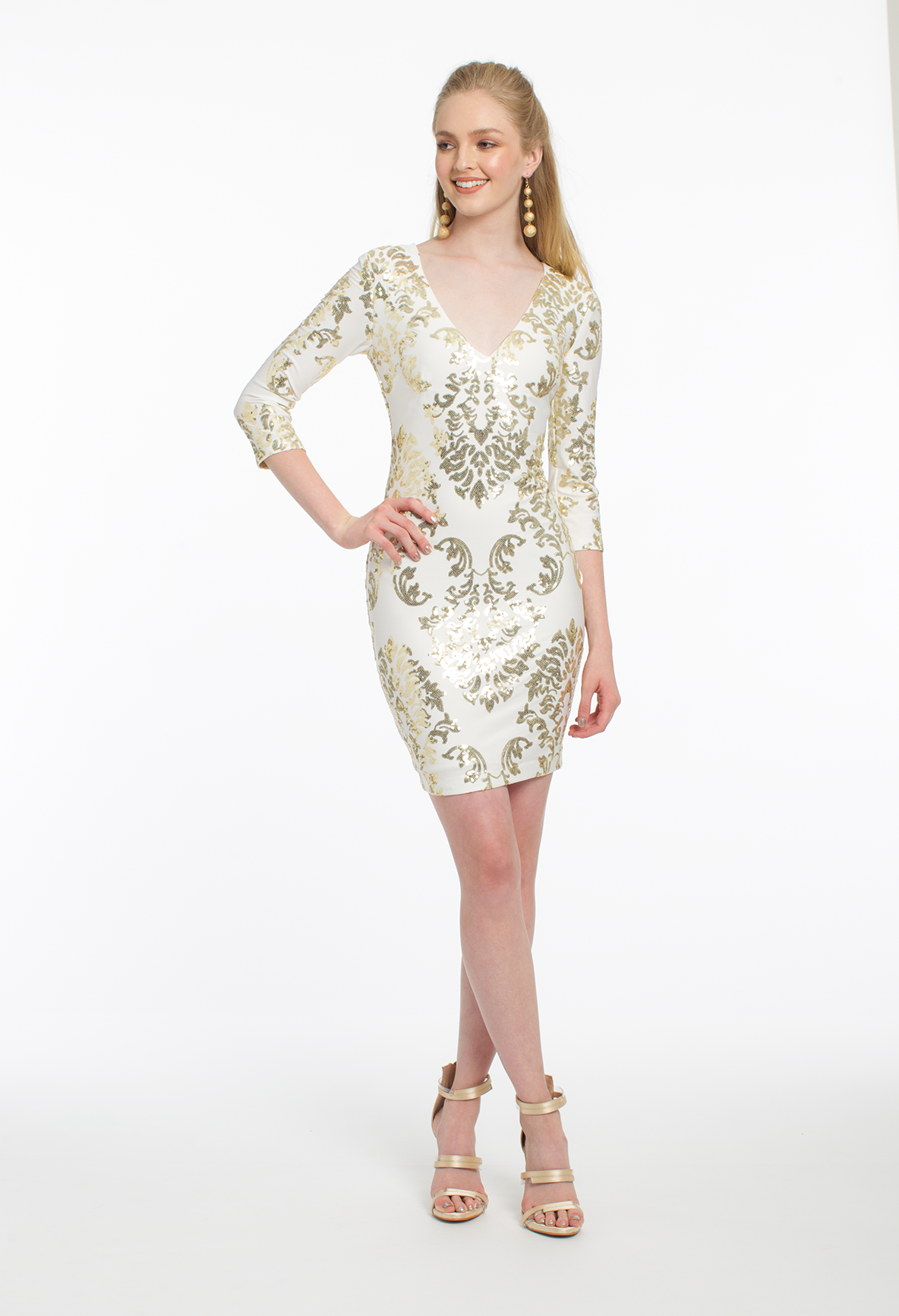Long sleeve sequin dress holiday dresses pinterest strap