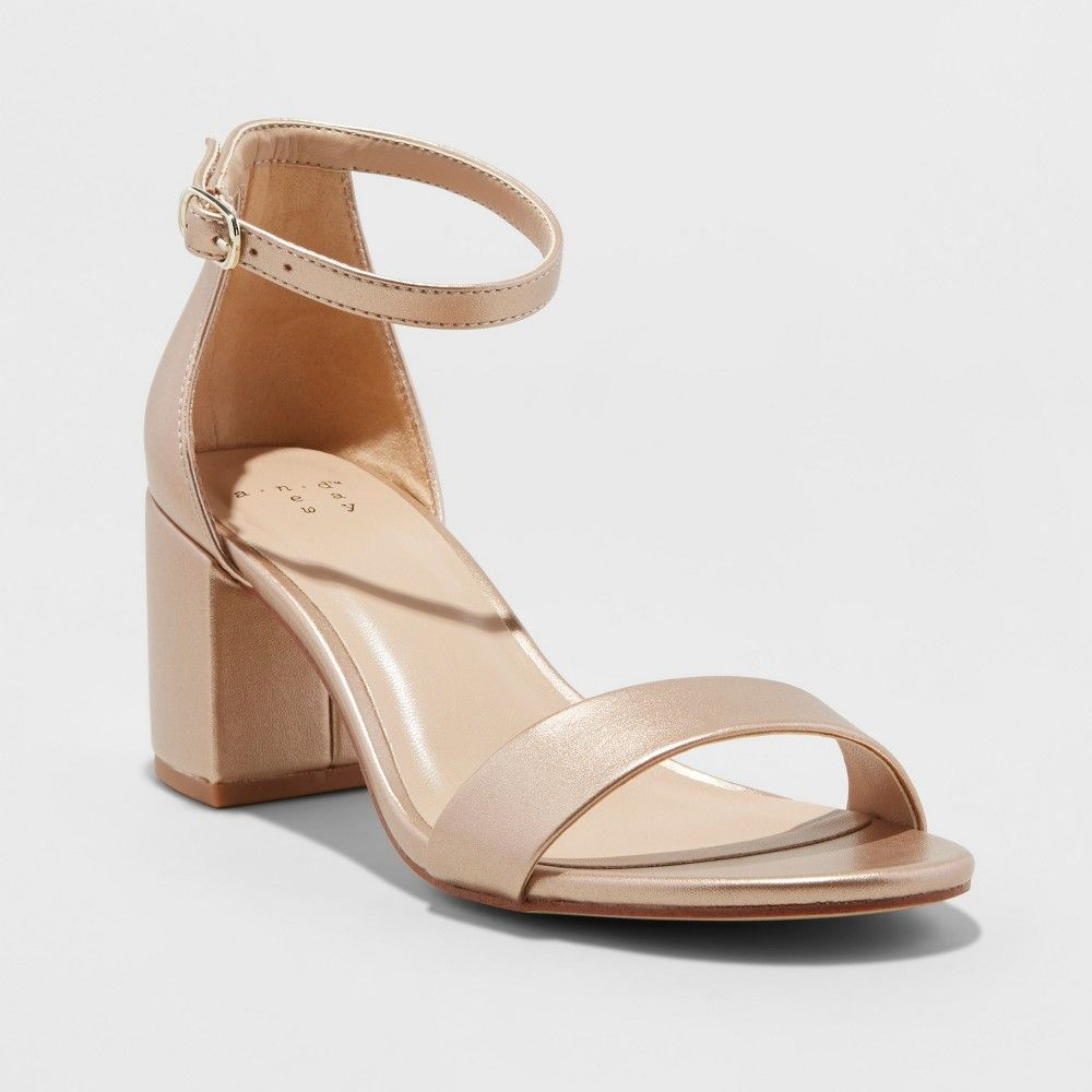 ca34b16e988d6 The Micahela Satin Mid Block-Heel Pump Sandals from A New Day add the  perfect amount of sheen to complete any casual or dressy look.