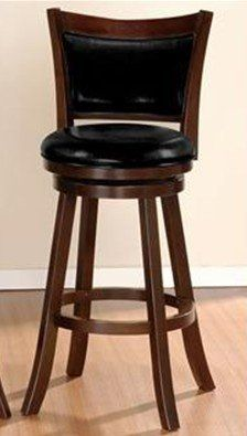 """1 Piece 29'' Contemporary Styled Leather and Wood Barstool by HP. $119.99. Dimensions 29""""H seat x 43""""H. Do not ship to AK, HI, APO.. Round Upholstered Seat Cushions Framed and Back Support in Faux Leather Framed in a Dark Brown Wood Finish.. Some assembly may be required. Please see product details. This barstool collection features a selection of two contemporary styled chairs with round upholstered seat cushions and back support in faux leather framed in a dark br..."""