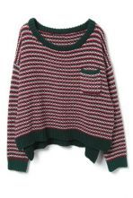 Green Red Striped Batwing Elbow Patch Sweater $62.58 #SheInside