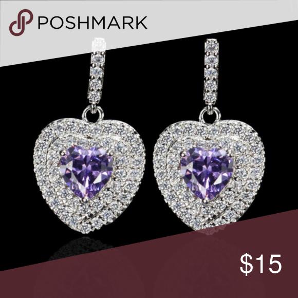 Platinum Plated Earrings Heart Drop Earrings Valentine Gifts Jewelry Women Jewelry