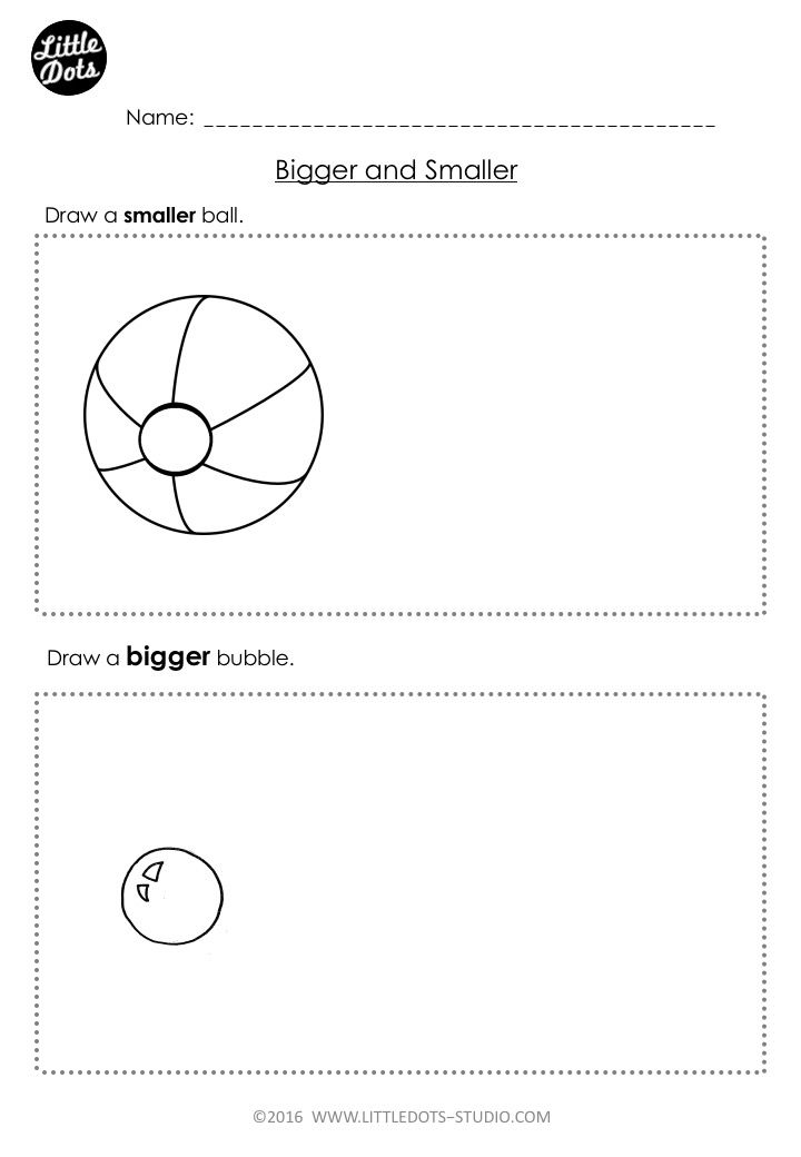 Free prek measurement worksheet on bigger and smaller
