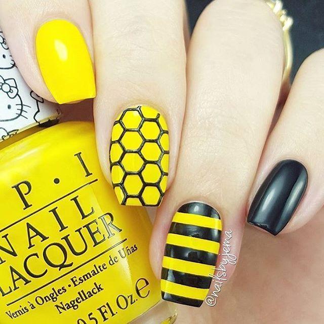 21 Bee Nail Art Designs > CherryCherryBeauty.com - 21 Bee Nail Art Designs Nails Pinterest Bees, Simple Nail