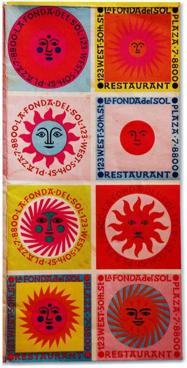 Menu for La Fonda del Sol Restaurant, New York, 1960. By Alexander Girard.