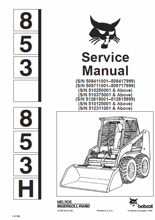 Bobcat 853 And 853H Skid-Steer Loader Service Manual (With