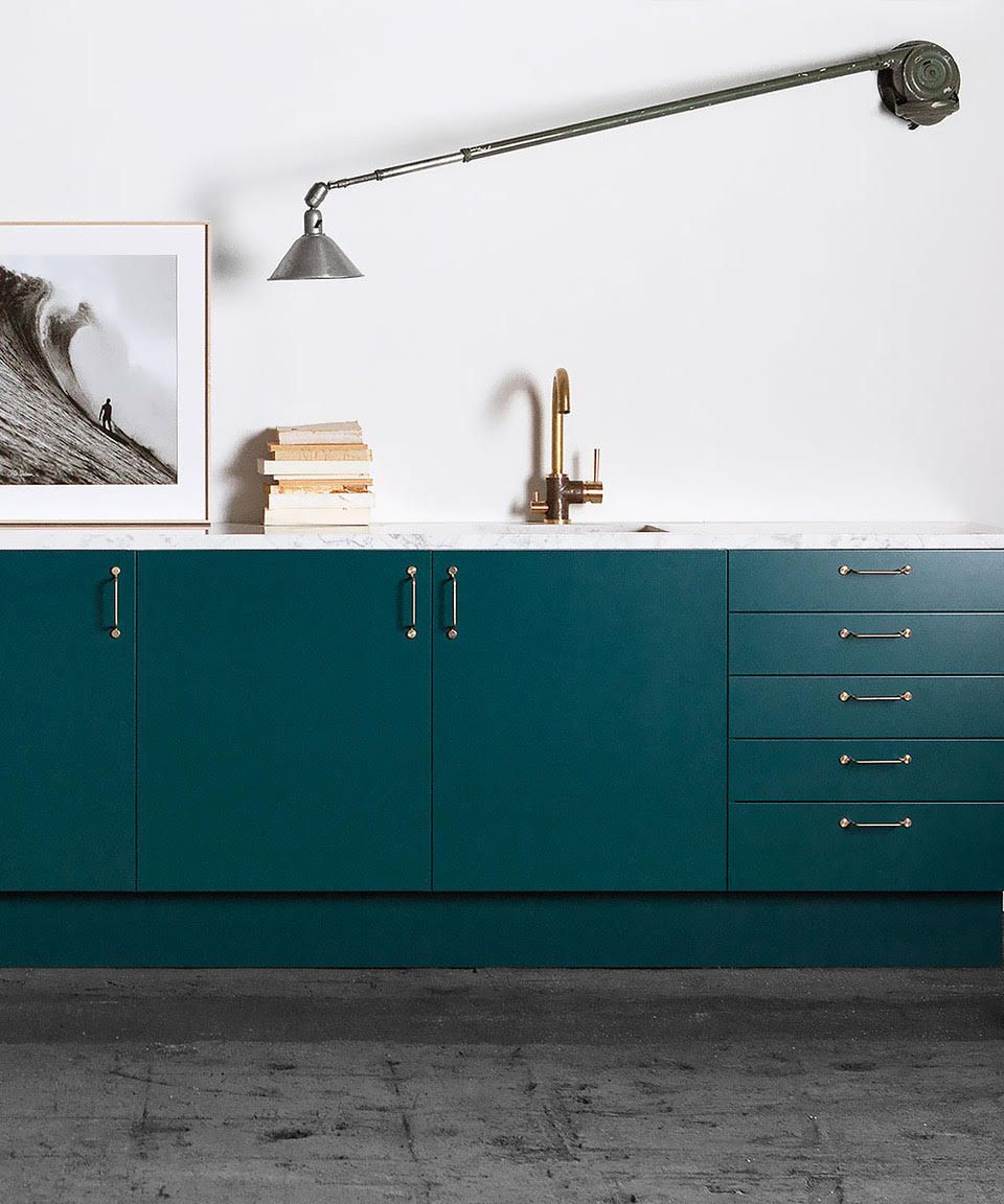Kitchen Built On The Ikea Faktum Cabinet Unit Bottle Green Smooth Fronts Together With Brass Wire Han Ikea Kitchen Ikea Kitchen Cabinets New Kitchen Interior
