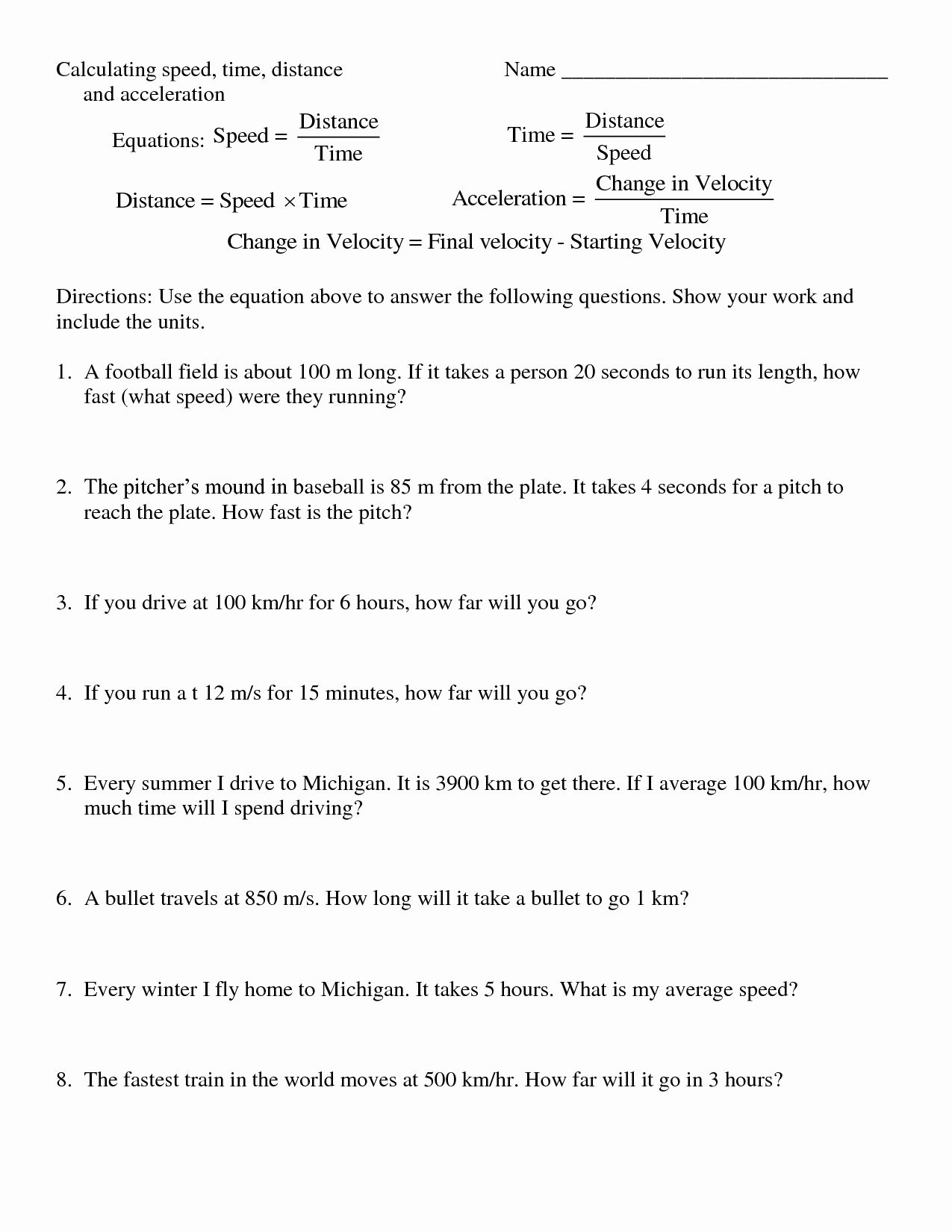 Speed Problem Worksheet Answers Fresh 10 Best Of Distance