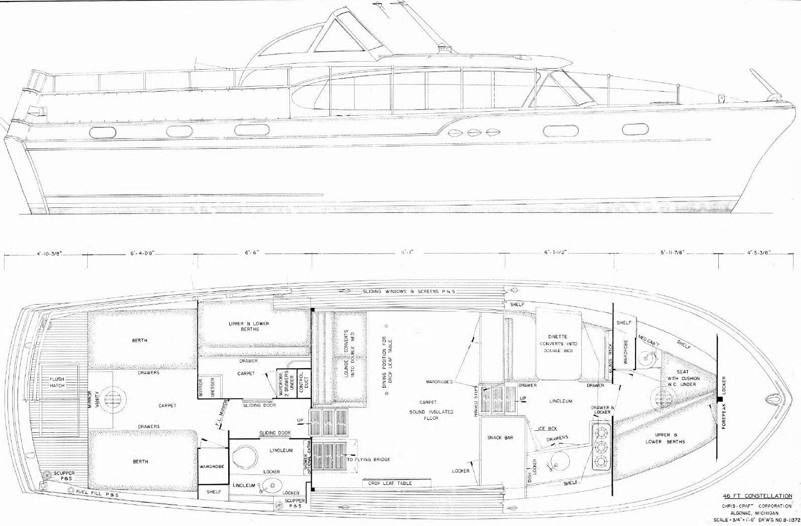 medium resolution of 1957 46 chris craft constellation plan drawing