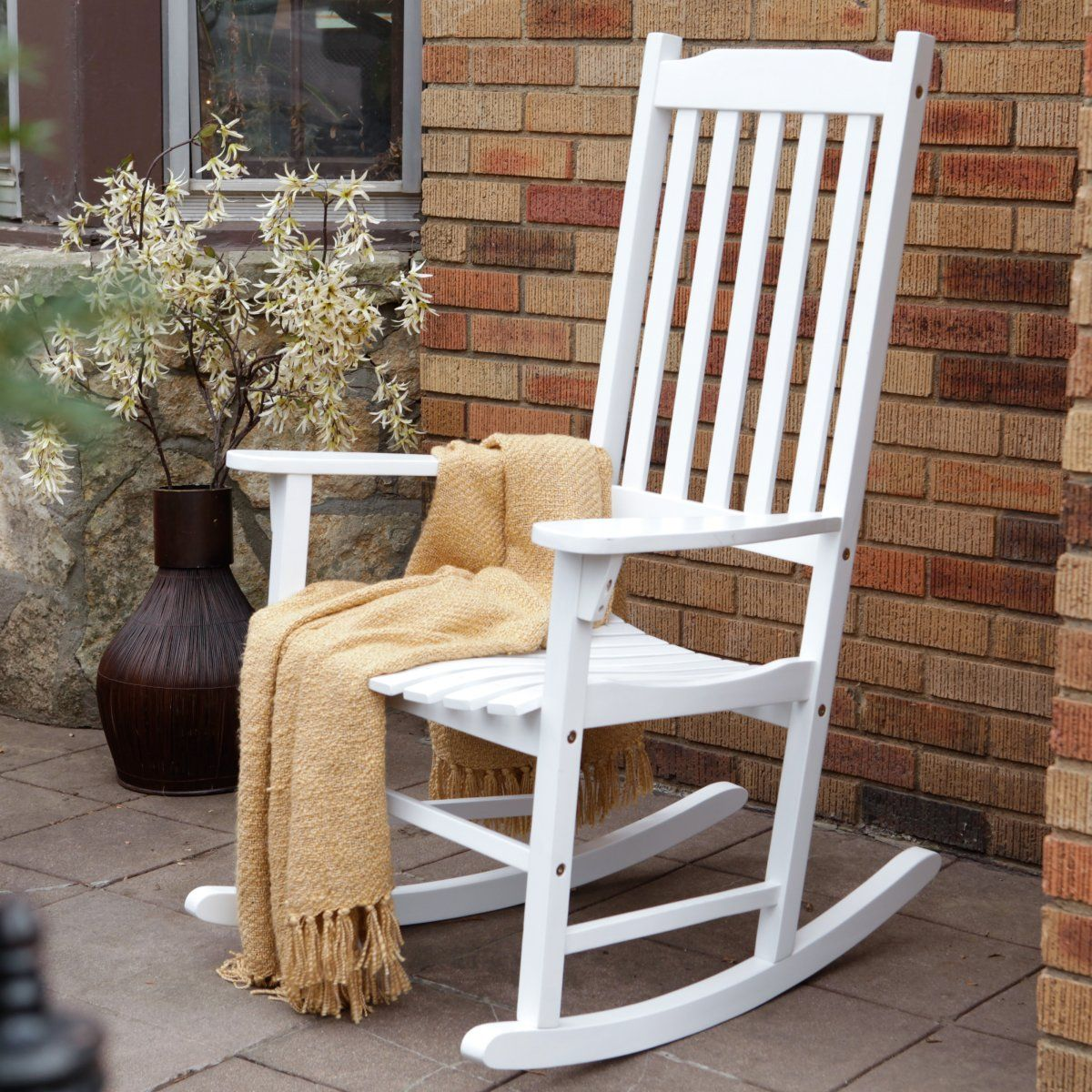Coral Coast Indoor/Outdoor Mission Slat Rocking Chair - White & Coral Coast Indoor/Outdoor Mission Slat Rocking Chair - White ...