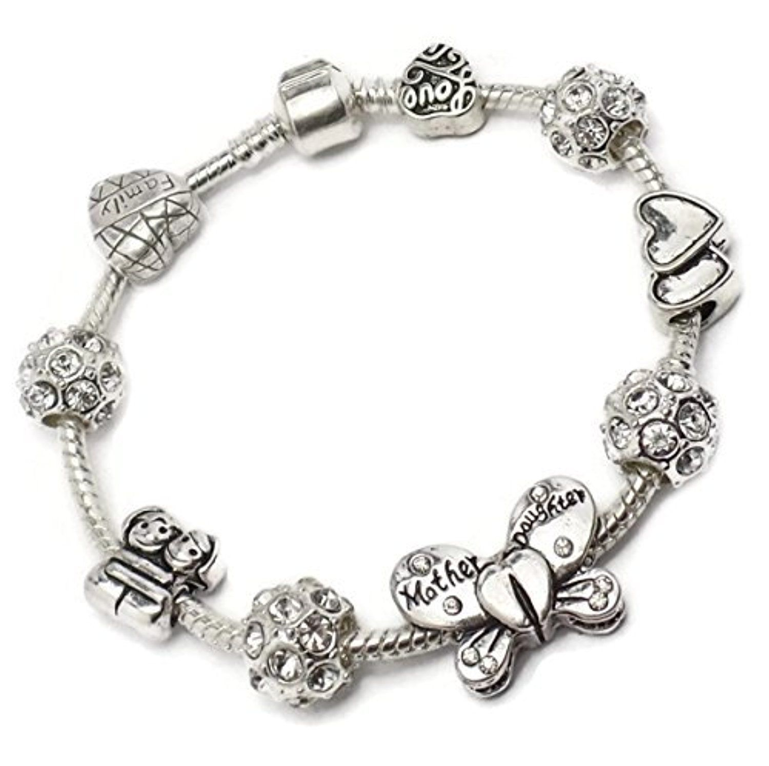 Mother Daughter Butterfly Charm Bracelet Pandora Troll Chamilia