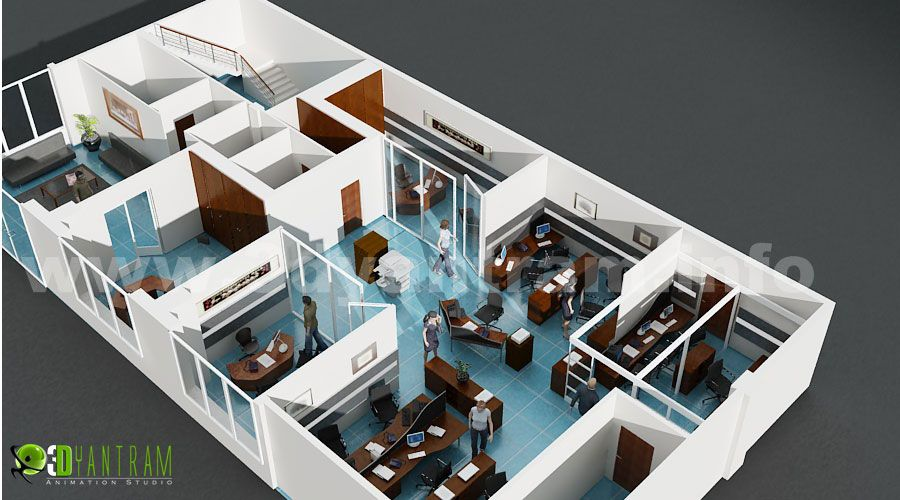 Modern Office 3d Floor Plan For Commercial Services In 2020