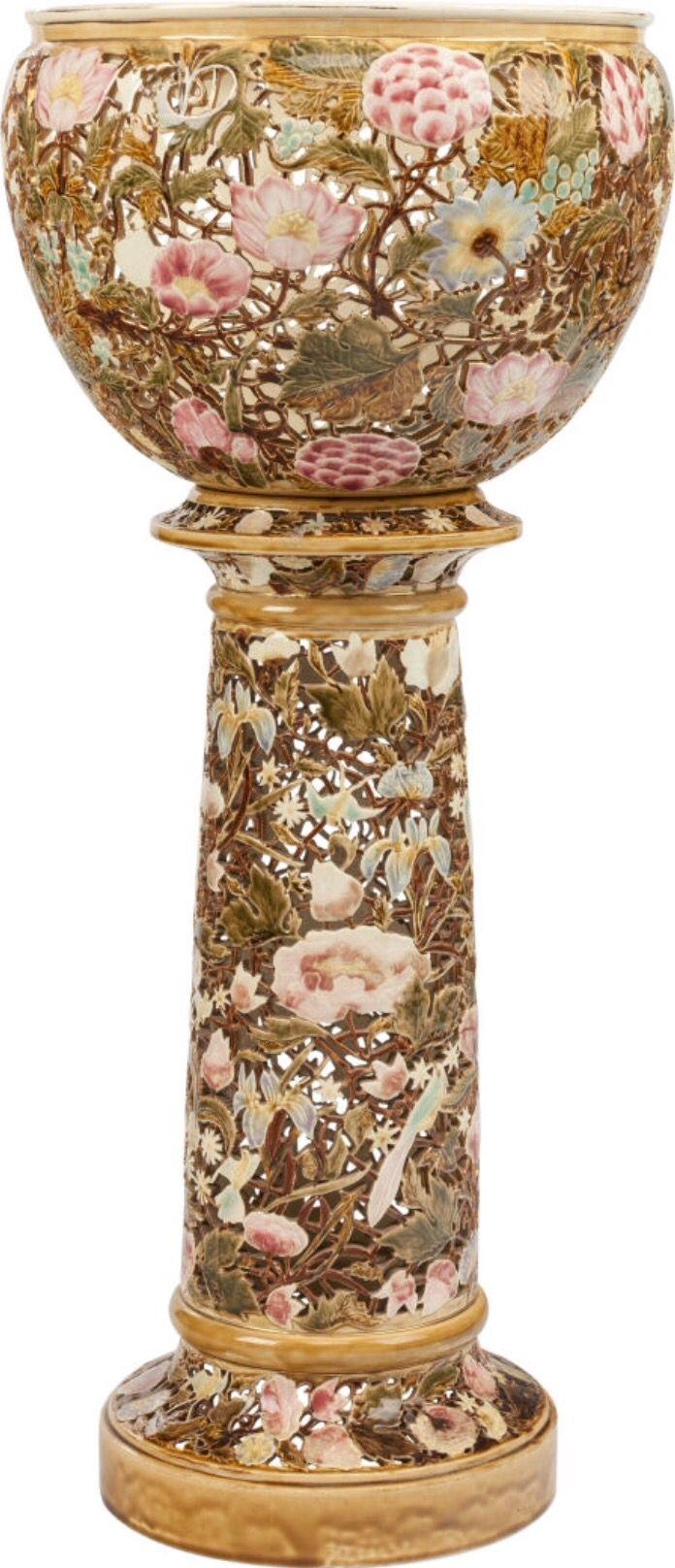 Majolica Grape Motif design w decorative Greek Key Border ~ 105 lbs Packed Antique Unpainted footed cement Urn Jardiniere Pedestal Planter