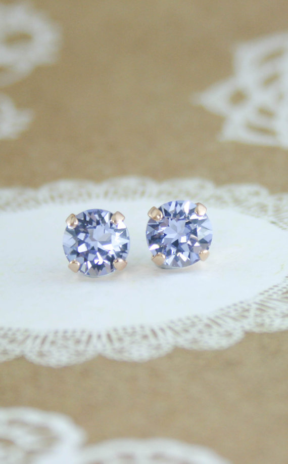 Lavender crystal earrings | Swarovski Provence Lavender crystal solitaire stud earrings | lavender wedding | lavender bridesmaid | lavender bride | www.endorajewellery.etsy.com