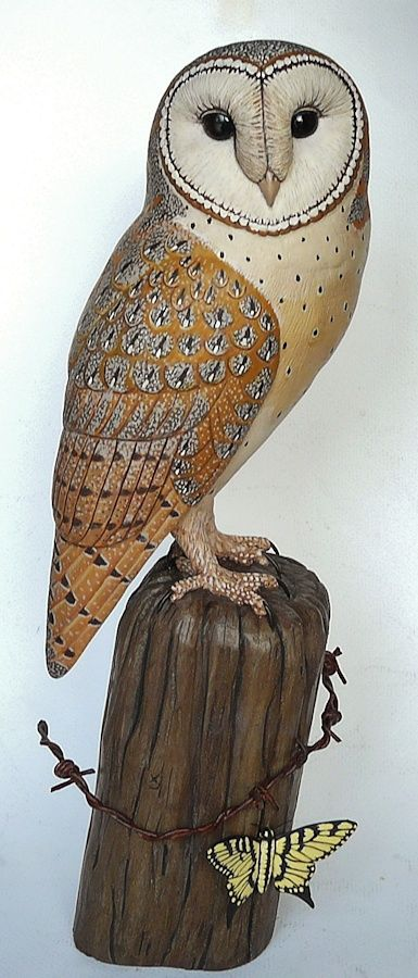Barn owl butterfly carving artwork by tim mceachern