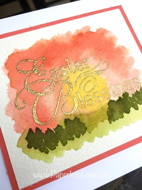 Hand painted and stamped Easter Blessings watercolor card. See a video tutorial at www.PaperIntoLove.com