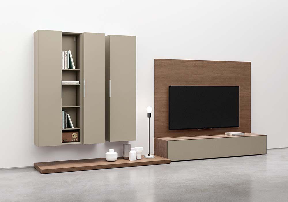 mobile porta tv con pannelli modulari in legno canaletto, mensole e ...