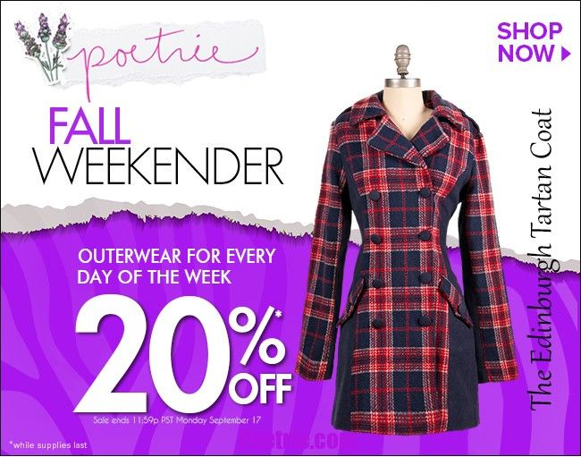 Outerwear sale happening at http://www.poetrie.com until Monday, Sept. 17th